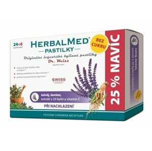 Dr. Weiss HerbalMed Šalvěj + ženšen + vitamin C BEZ CUKRU 24+6 pastilek