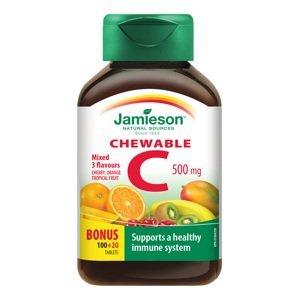 Jamieson Vitamin C 500 mg 3 ovocné příchutě 120 cucacích tablet