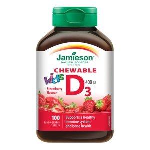 Jamieson Vitamín D3 Kids jahoda 100 cucacích tablet