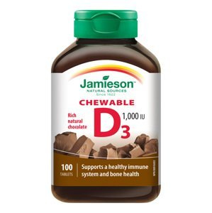 Jamieson Vitamín D3 1000 IU příchuť čokoláda 100 cucacích tablet