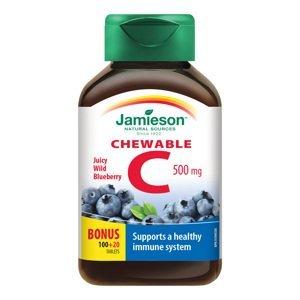 Jamieson Vitamín C 500 mg příchuť borůvka 120 cucacích tablet
