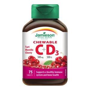 Jamieson Vitamíny C a D3 500 mg/500 IU příchuť třešeň 75 cucacích tablet