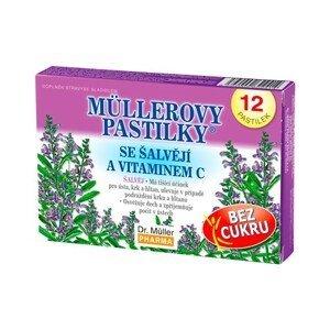 Dr. Müller Müllerovy pastilky se šalvějí a vitaminem C BEZ CUKRU 12 pastilek