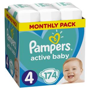 Pampers Active Baby vel. 4 dětské pleny Monthly Box 174 ks