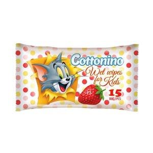 Cottonino Dětské vlhčené ubrousky Tom&Jerry jahoda 15 ks