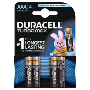 Duracell Turbo Max AAA K4 LR03/MX 1500 baterie 4 ks