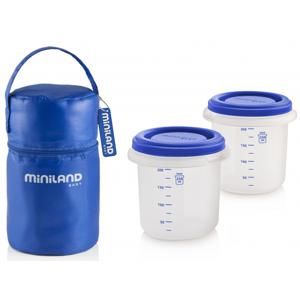 Miniland Termoizolační pouzdro + kelímky na jídlo Blue