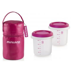 Miniland Termoizolační pouzdro + kelímky na jídlo Pink