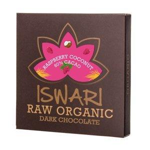 Iswari BIO RAW Čokoláda raspberry coconut 60% kakao 75 g