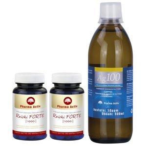 Pharma Activ Reishi FORTE 1000 1+1 90 kapslí + Ag100 10ppm 500 ml