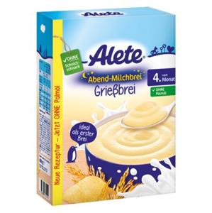Alete Večerní mléčná rýžovo-kukuřičná kaše 6m+ 400 g