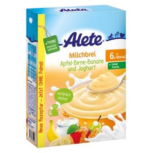 Alete Obilno-mléčná kaše s nízkotučným jogurtem a ovocnými vločkami 6m+ 400 g