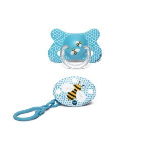 Suavinex Fusion Šidítko silikon 4-18m + klip 2 ks modrá včela