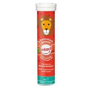 Intact Silný lev vápník + vitamin D3 jahoda 15 šumivých tablet