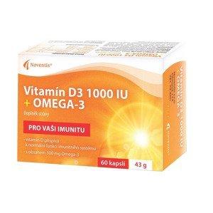 Noventis Vitamín D3 1000 IU + Omega-3 60 kapslí