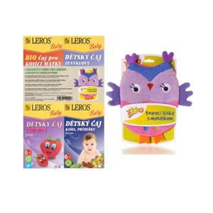 Leros Baby BIO Dětské čaje mix 4x20 sáčků + žínka