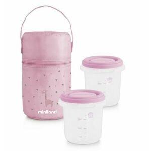 Miniland Termoizolační pouzdro + kelímky na jídlo Pink 2 ks