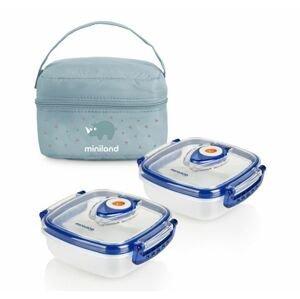 Miniland Termoizolační pouzdro + hermetické misky na jídlo Blue 2 ks