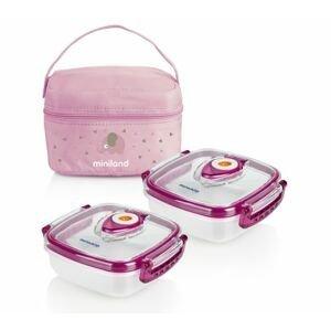 Miniland Termoizolační pouzdro + hermetické misky na jídlo Pink 2 ks