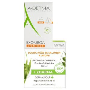 A-Derma Exomega Control Emolienční balzám 200 ml + Dermalibour Reparační krém 15 ml