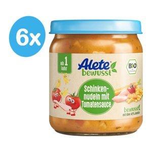 Alete BIO Příkrm těstoviny se šunkou v zeleninové omáčce 12m+ 6x250 ml