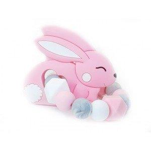 KidPro Silikonové kousátko Zajíček růžový 1 ks