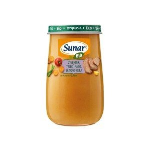 Sunar BIO Příkrm Zelenina a telecí maso 6m+ 190 g