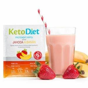 KetoDiet Proteinový nápoj jahoda a banán 7x27 g