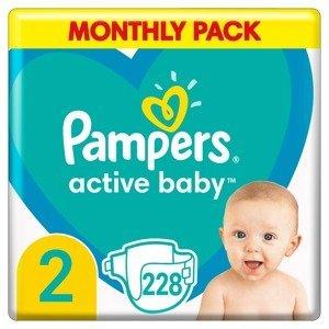 Pampers Active Baby vel. 2 Monthly Pack 4-8 kg dětské pleny 228 ks