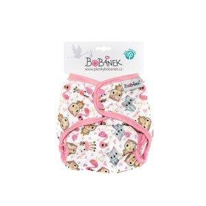 Bobánek Svrchní kalhotky patentky 1 ks růžová zvířátka