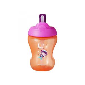 Tommee Tippee Straw Cup 7m+ netekoucí hrnek s brčkem 230 ml Pink