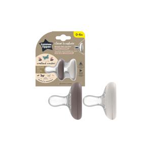 Tommee Tippee C2N Natural 0–6m silikonové šidítko 2 ks Chestnut