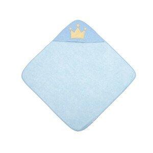 Canpol babies Měkká osuška s kapucí ROYAL BABY 85 x 85 cm modrá