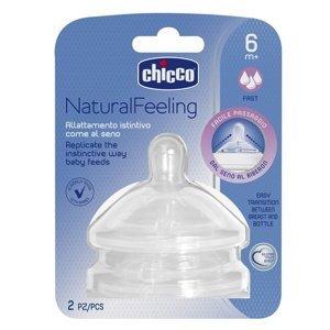 Chicco Natural Feeling Dudlík na láhev silikonový rychlý průtok 2 ks