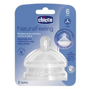 Chicco Natural Feeling Dudlík na láhev silikonový na kaši 2 ks