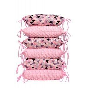 T-tomi Polštářkový mantinel MINKY 6 ks pink triangles