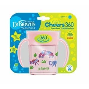 Dr.Browns Hrnek Cheers360 Jungle s držadly 6m+ 200 ml 1 ks růžový