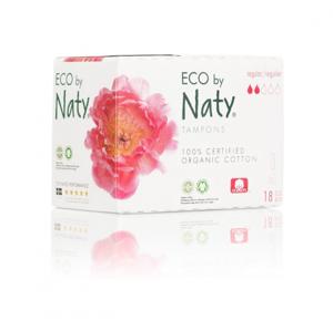Naty Tampony Regular (18 ks) 100% z biobavlny, 2 kapičky