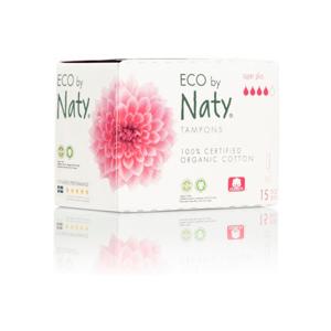 Naty Tampony Super plus (15 ks) 100% z biobavlny, 4 kapičky