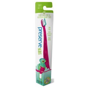 Preserve Dětský zubní kartáček (soft) - růžový z recyklovaných kelímků od jogurtů
