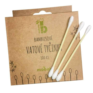 Mobake Vatové tyčinky do uší (200 ks) z bavlny a bambusu