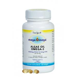 Free Spirit Mega Omega olej z mořských řas (60 kapslí) skvělý zdroj omega-3