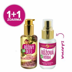 Purity Vision Růžový pleťový olej BIO (45 ml) + Růžová voda (50 ml)