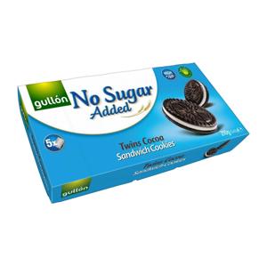 Gullón Twins kakaové sušenky plněné krémem bez přídavku cukru, se sladidly 210 g