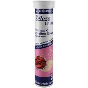MedPharma Železo 14 mg + vit.C + kys listová, 20 šum tablet