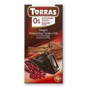 Torras Hořká čokoláda s růžovým pepřem, skořicí a chilli 75 g