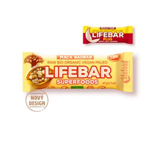 Lifefood Lifebar Superfoods Třešňová s macou a baobabem BIO RAW 47 g