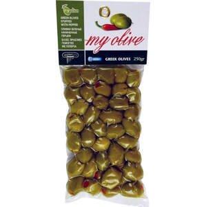 my olivy Zelené olivy plněné červenou papričkou 250 g