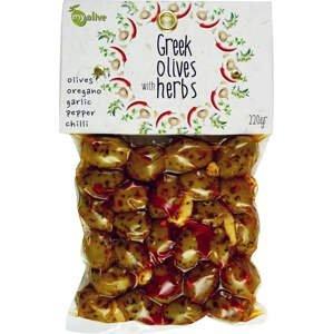 my olive Marinované olivy v koření a česneku, chilli 220 g