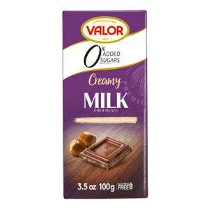 Valor Mléčná čokoláda mléčná plněná krémem 35 %, bez přídavku cukru 100 g